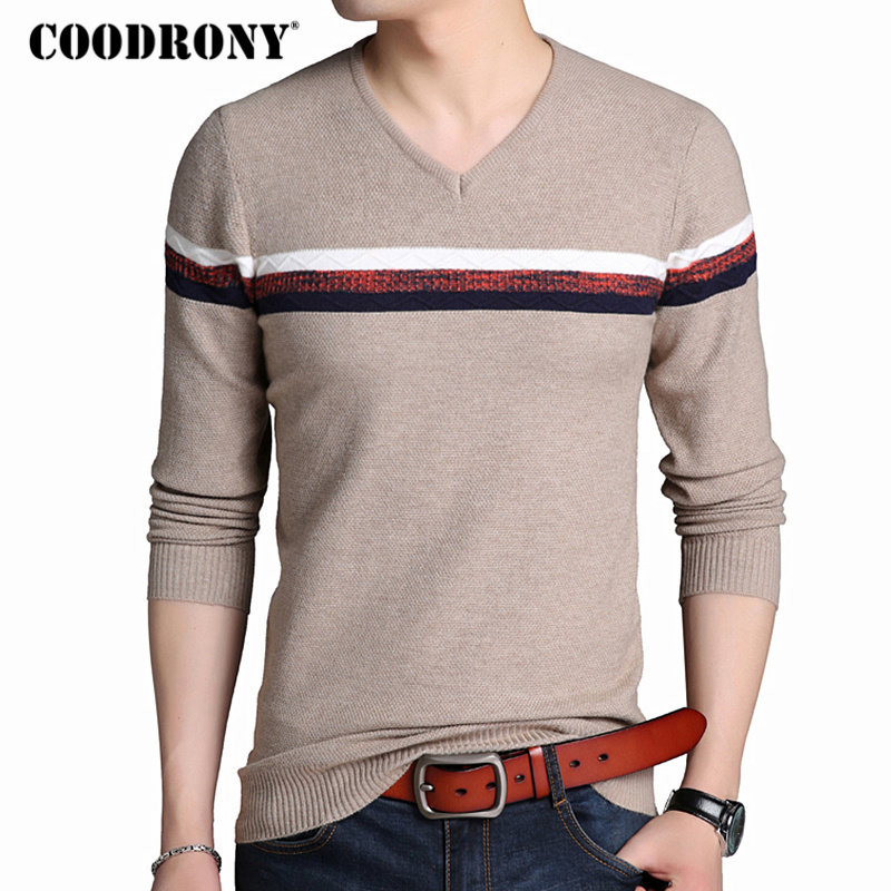 COODRONY Mens Sweaters 2018 Autumn Winter New Arrival Pullover Men Casual V-Neck Pull Homme Slim Fit Thick Warm Sweater Men 7216