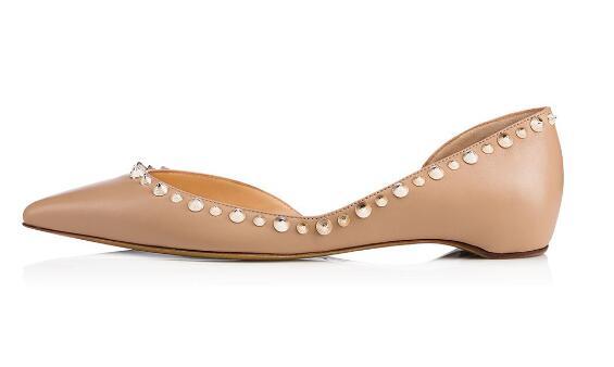 Peu Plates D'été Pointu Chaussures Profonde Printemps Rivets Automne Robe Nude Femme Ballet Dames Bout Casual Et w70xaX