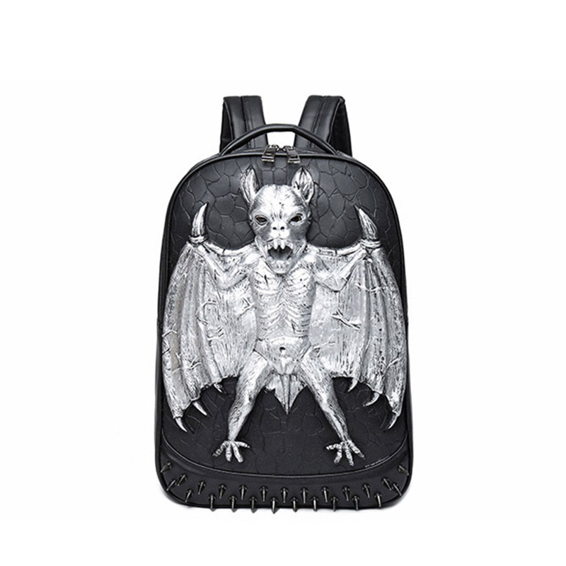 3D Leather Backpack Fashion Men Bat Backpack Computer Laptop Bags Cool Travel Bags Girls School Punk Rivets Halloween Bag 2017