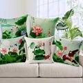 Free shipping hot sale Home Garden sofa Pillow cushion colorful cute cartoon Pillowcase Chinese painting Lotus Pond bird 1pc