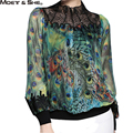Moet &She High Qualtiy Women Tops Stand Collar Silk Embroidery Peacock Print Green Blouse Pullover Shirt Women Clothing T67337R
