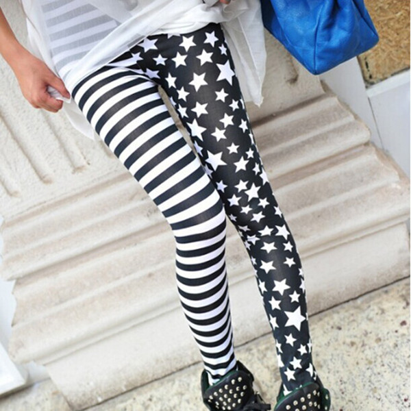Hot Sale New Ladys Girls Fashion Charming Cool Punk Style Sexy Lady Womens Stripe Star Skinny Slim Stretchy Leggings 20161 pc