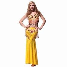 2017 Belly Dance Costumes Belly Dance Costumes Cotton Women Costume Performance Wear Luxury Beaded Set Big Accessories Shoes