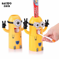 2015 New Cute Minions Design Set Cartoon Yellow Doll Toothbrush Holder Automatic Toothpaste Dispenser Toothpaste Free