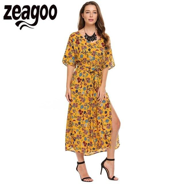 fcaea412ac Zeagoo Women Bohemian Style V-Neck Half Sleeve Floral Print Split Beach Maxi  Dress 2018