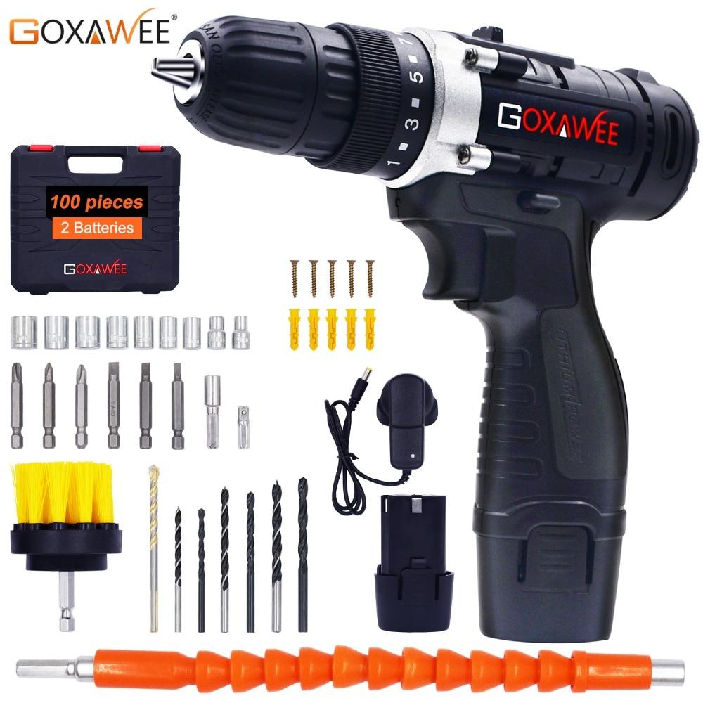 GOXAWEE 12 V Deux Vitesse tournevis électrique perceuse sans fil Mini Sans Fil visseuse électrique DC Lithium-Ion Batterie Avec Carry Case