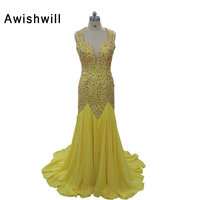 Fancy Ope Back V Neck Handmade Beadings Vestidos 2017 Prom Dress Chiffon Court Train Yellow Long