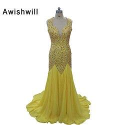 Fancy ope back v neck handmade beadings vestidos 2017 prom dress chiffon court train yellow long.jpg 250x250