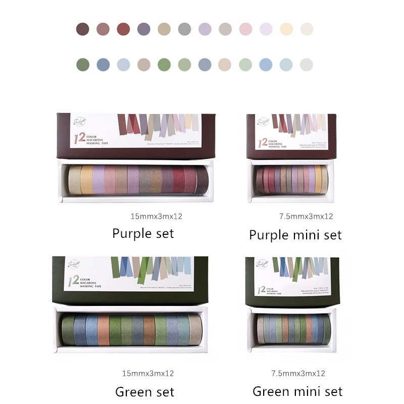 4 Set/Lot Vintage Decoration Purple Green Color Masking Tape 7.5mm 15mm Washi Tapes Stickers For Diary Album Stationery A6073