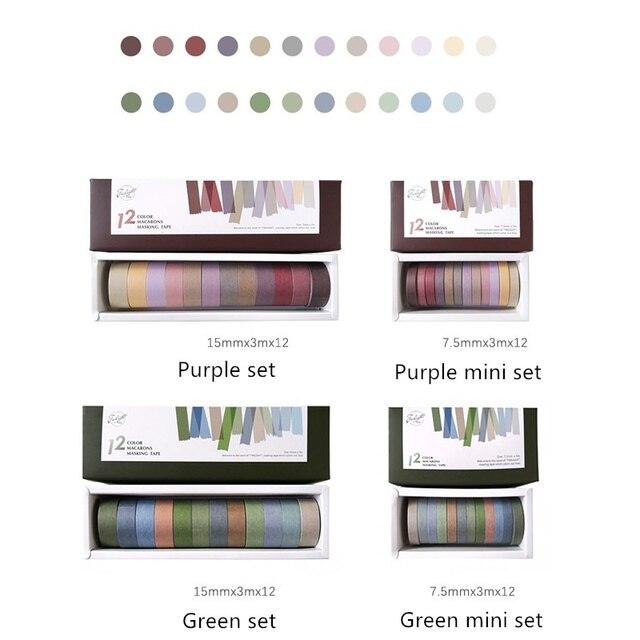4 takım/grup Vintage dekorasyon mor yeşil renk maskeleme bandı 7.5mm 15mm washi bantlar çıkartmalar günlüğü albümü kırtasiye a6073