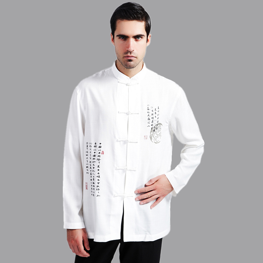 636d756b2fa24 White Men Cotton Linen Long sleeve Kung Fu Shirt Classic Chinese Style Tang  Clothing Size S M L XL XXL XXXL hombre Camisa Mim02C