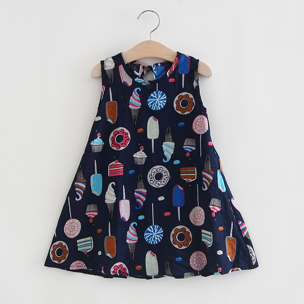 Toddler Girl Baby Dress Sleeveless Infant Ice Cream Cake Print Children Floral Tees Shirt Vest Girl Clothing For Summer Clothes