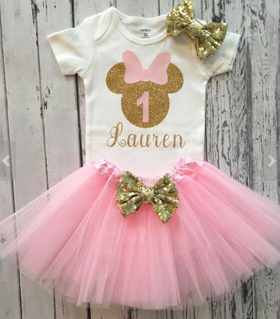 39abdafb9978 custom name 1st birthday Newborn infant bodysuit onepiece Tutu Dress romper  Outfit Sets baby shower party favors