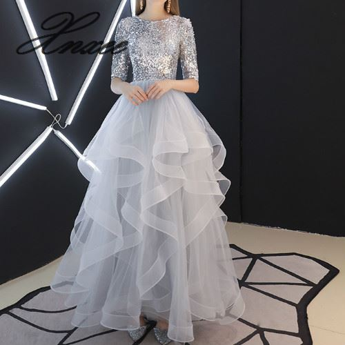 2019 New Sequined Lace Up Long Dresses Elegant Floor length Party Dress