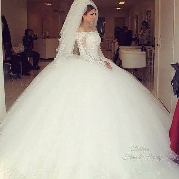 Long Sleeves Ball Gown robe de marriage White Tulle Wedding Dresses 2019 Simple Wedding Gowns abiti