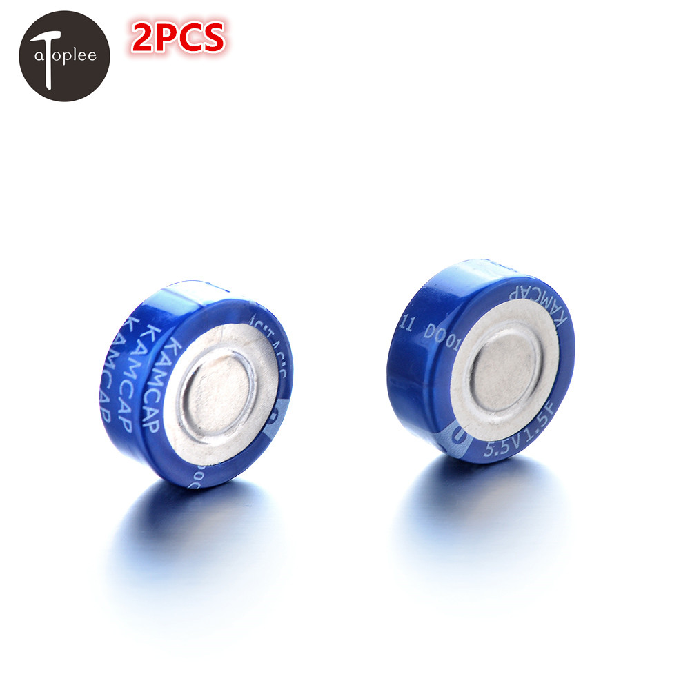 High-charging Speed 2PCS 5.5V 1.5F 2 Pins Super Capacitor Farad Capacitor 19.5*4.5mm Large Current Discharge Capacitor