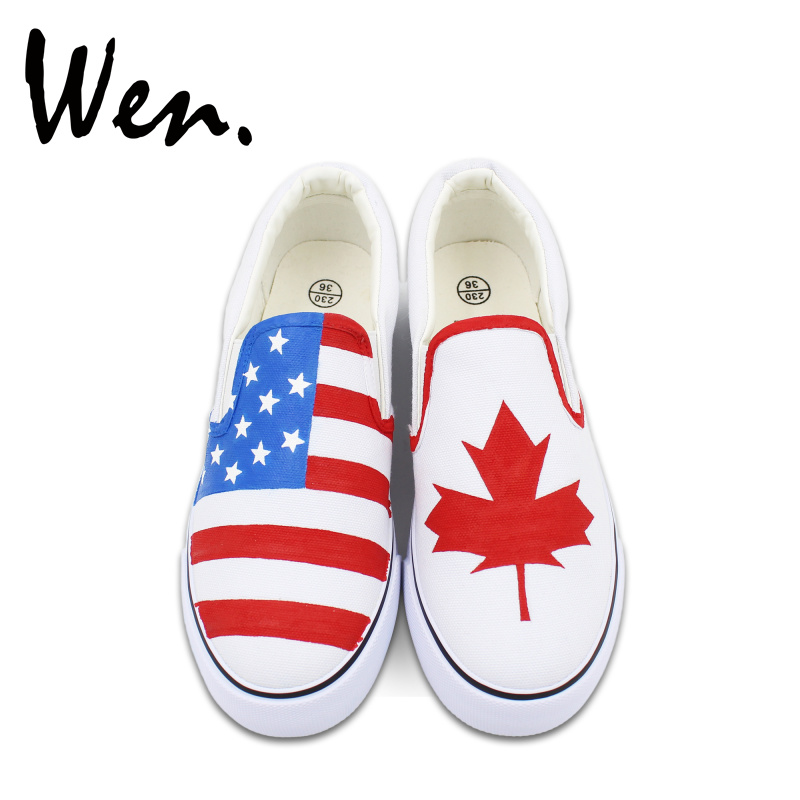 f84266d50b18 Wen Custom Design Hand Painted Slip On Shoes American Flag Canada Flag  Maple Leaf Unisex White Canvas Shoes for Christmas Gifts
