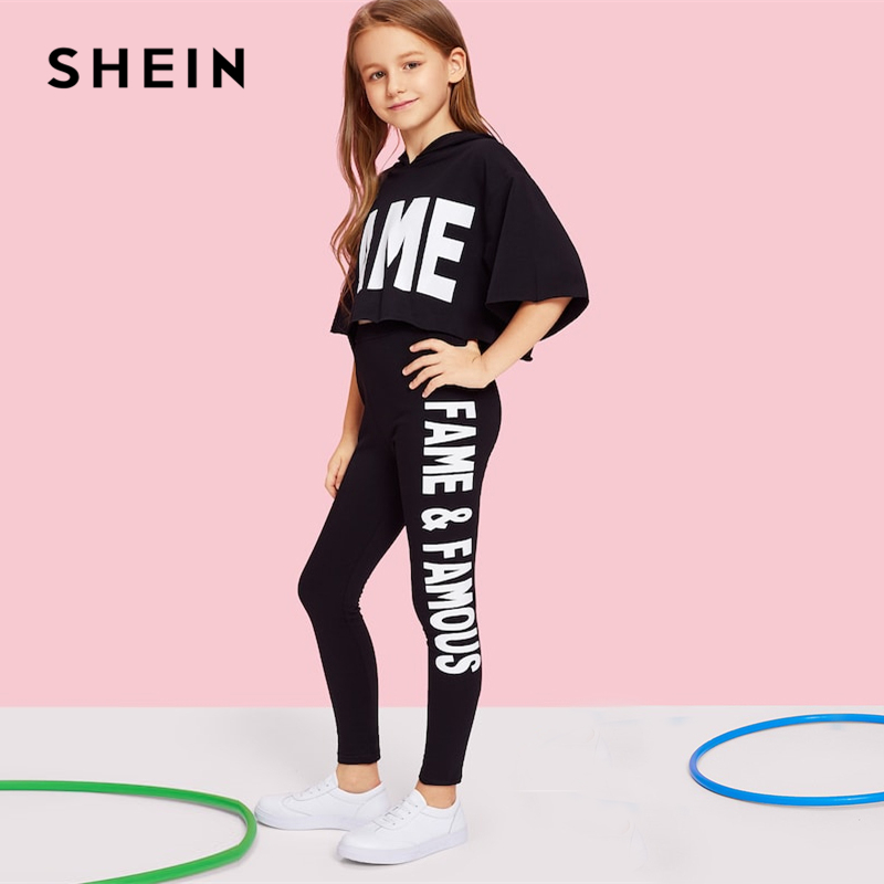 Image 5 - SHEIN Black Letter Print Hooded Top And Pants Set Girls Clothes 2019 Spring Fashion Active Wear Half Sleeve Kids Clothing-in Clothing Sets from Mother & Kids