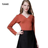 TUHAO Autumn Spring Blouse Women Clothing Rivet V Neck Knitted Blusa Slim Fit Plus Size Casual