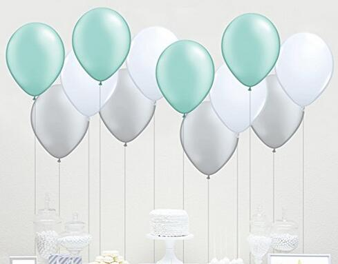 60 Count 10 Mixed White Grey Mint Green Latex Balloon