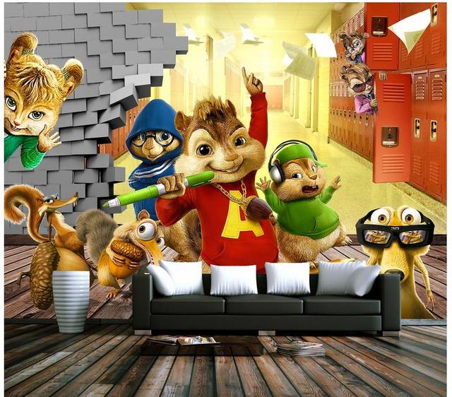 Custom 3d Photo Wallpaper 3d Wall Mural Wallpaper 3d Cartoon Mickey Mouse  Squirrel Children Background Wall
