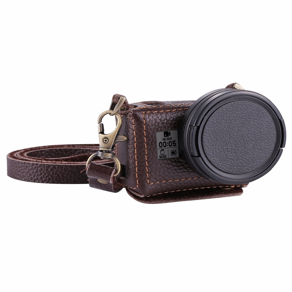 PULUZ For GoPro HERO7 Black /6 /5 Litchi Texture Genuine Leather Housing Case With Set Key Hole & Neck Strap & 52mm UV Lens