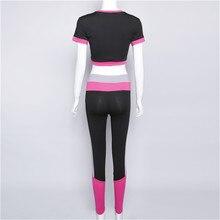 Women Tracksuit Yoga Set Patchwork Running Fitness Jogging T-shirt Leggings Sports Suit
