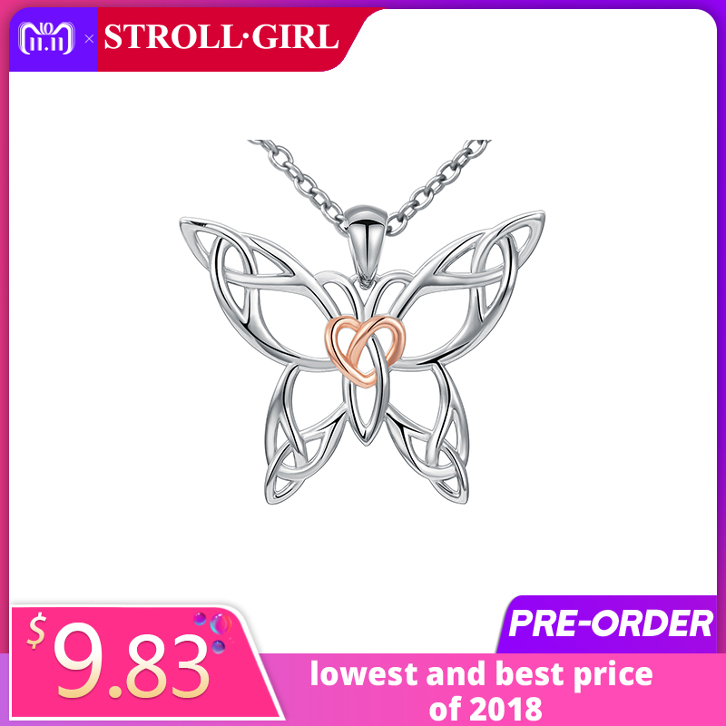Hot Selling 925 Sterling Silver Chain Pendant Necklace Fashion Jewelry knot Rose Butterfly Necklaces&Pendants For Women Friends mydear latest design hot sale fashion europe and america big chain necklace silver leaf animal pendants necklace for women