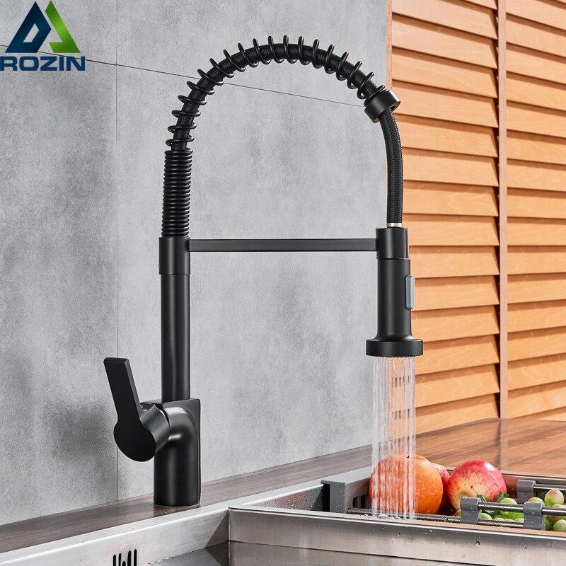 Matte Black Kitchen Faucet Pull Down Spout Kitchen Sink Faucet Single Handle Bathroom Kitchen Vanity Sink