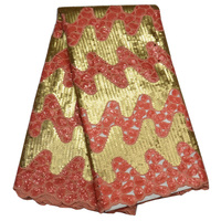 5yards Pc Top Grade Handcut African Organza Lace Fabric Luxury African Sequins Lace Fabric In