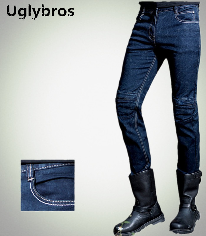 Fashion casual straight uglybros Incision UBS10 jeans motorcycle pants male moto pants protection for motorcycle pants