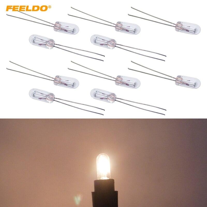 FEELDO 10 шт теплый белый/янтарный автомобиль T4 12V 1W галогенная лампа внешняя галогенная лампа замена приборной панели лампа # FD-2696