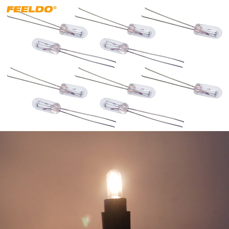 FEELDO 10Pcs Warm White/Amber Car T4 12V 1W Halogen Bulb External Halogen Lamp Replacement Dashboard Bulb Light #FD-2696