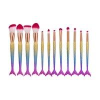 12PCS Mermaid Shape Makeup Brush Fish Scale Foundation Powder Eyeshadow Makeup Brushes Contour Blending Unicorn Cosmetic