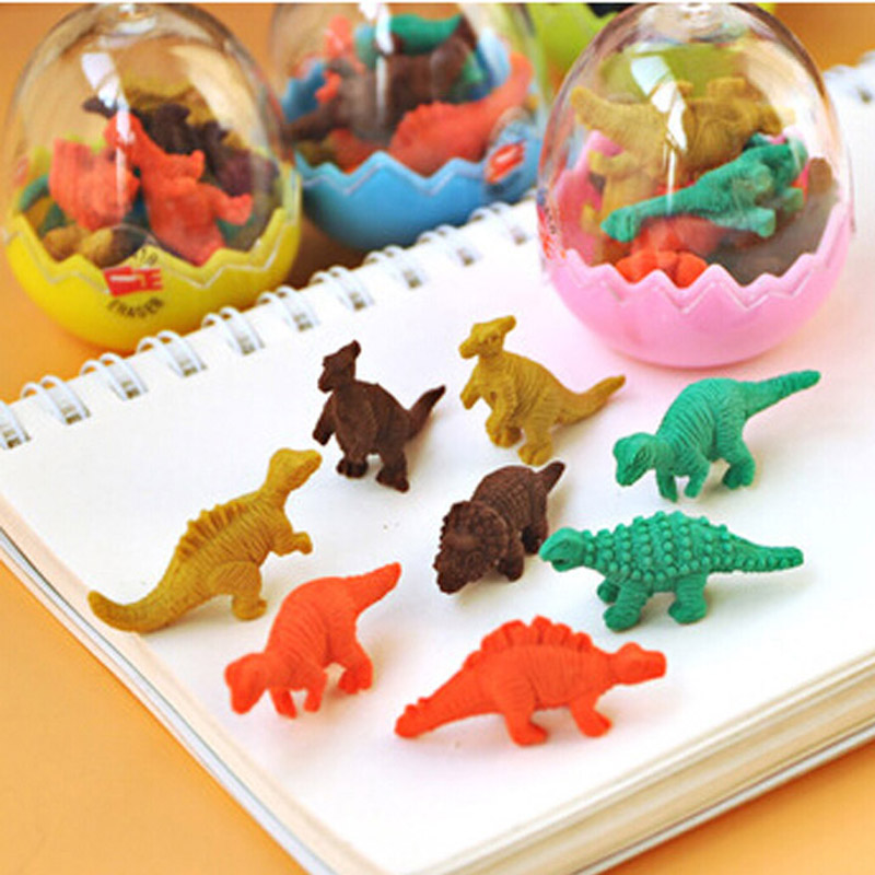 Pens, Pencils & Writing Supplies Free Shipping 10 Sets Cartoon Eraser Mini Lovely Dinosaur Shape Eraser Fashion Gifts For Children Stationery 1 Set=8 Mini Eraser