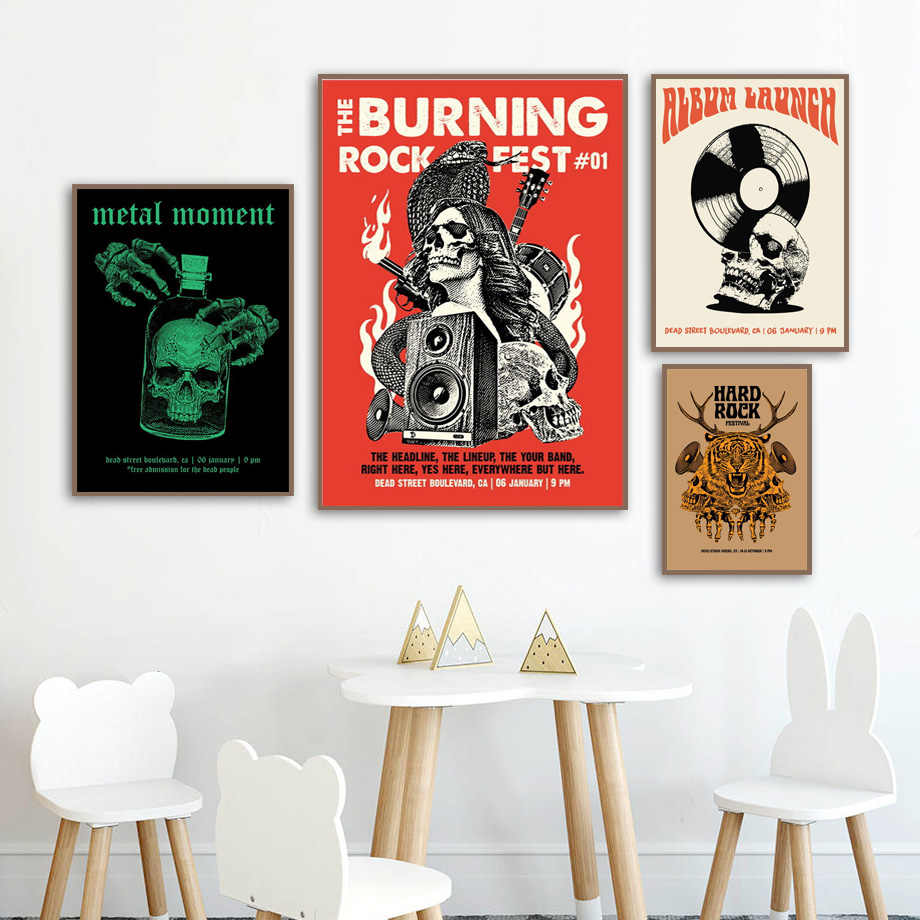 Abstract Rocker Party Posters And Prints Pop Art Heavy Metal Music Wall  Pictures For Bar Kitchen Room Canvas Painting No Framed