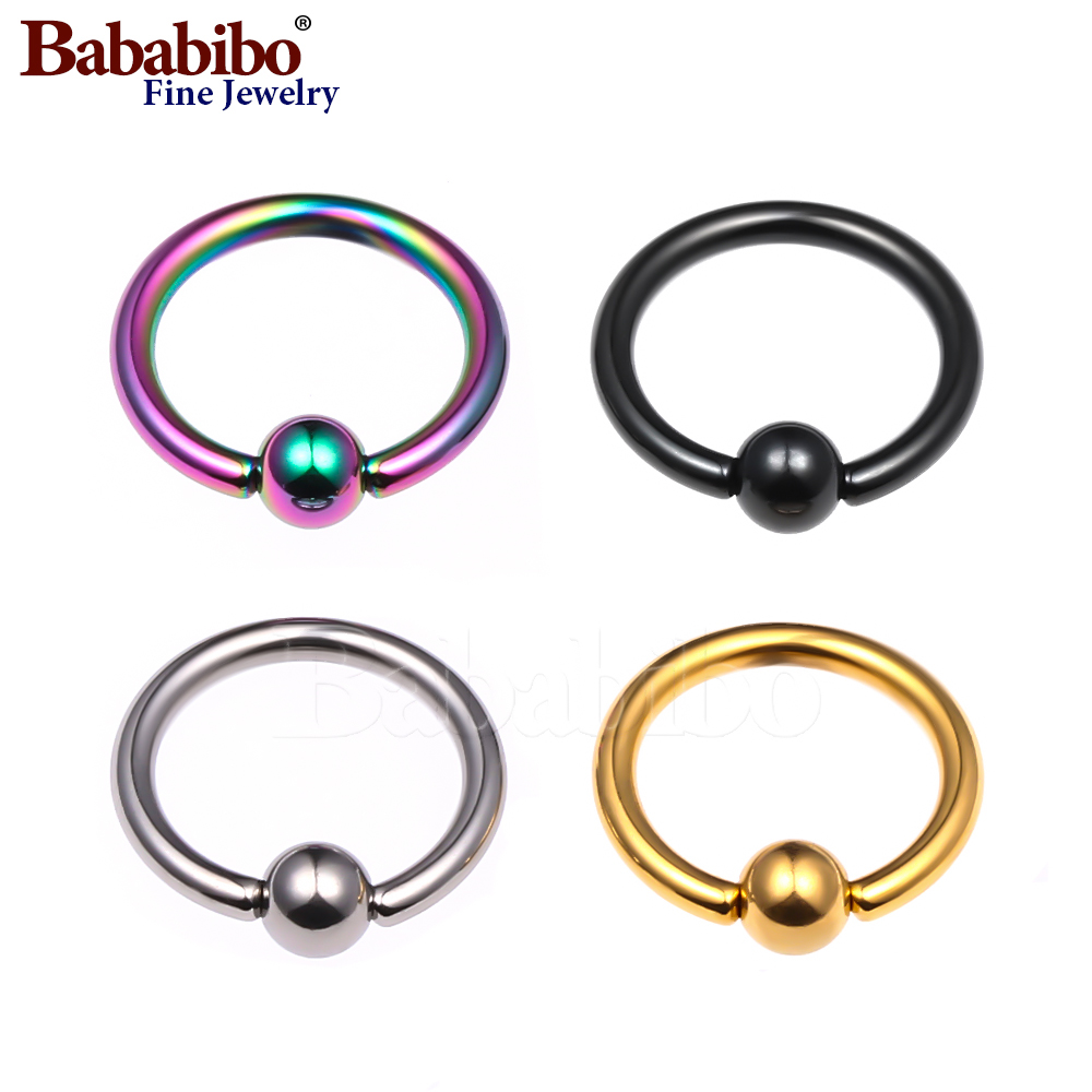 16G Captive Bead Piercing Ring Titanium Nose Septum Tragus Helix Nipple Lip Eyebrow Hoop Rings