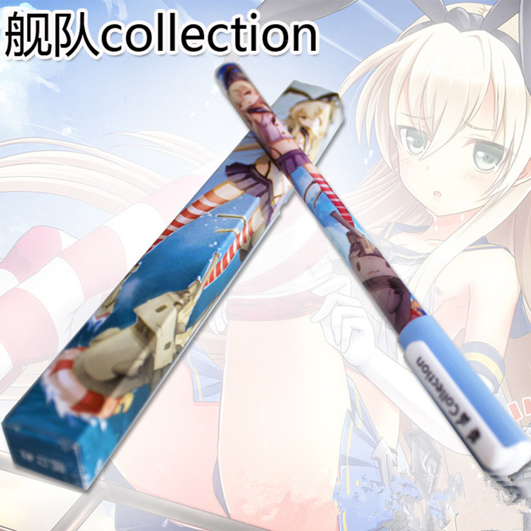 6pcs Japanese anime Cute creative Collection ship girl black Gel pen signing pen Anime around Each is individually packaged