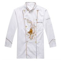 Top Quality 3 star Cook Suit White Restaurant Hotel Long Sleeve Chef Uniform Hotel Kitchen Cook Jackets Man/woman Work Clothes