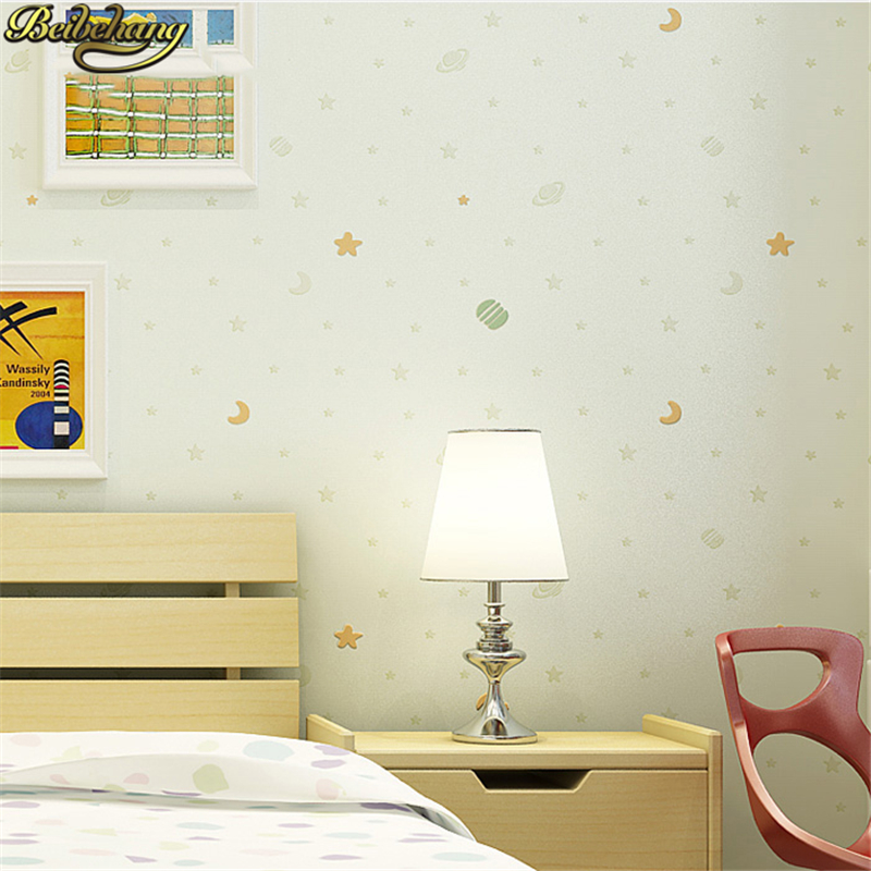 Us 33 39 37 Off Beibehang Children Sprinkle Gold Stars Wallpaper For Walls 3 D Bedroom Boys Girls Baby Living Room Decoration 3d Moon Wall Paper In