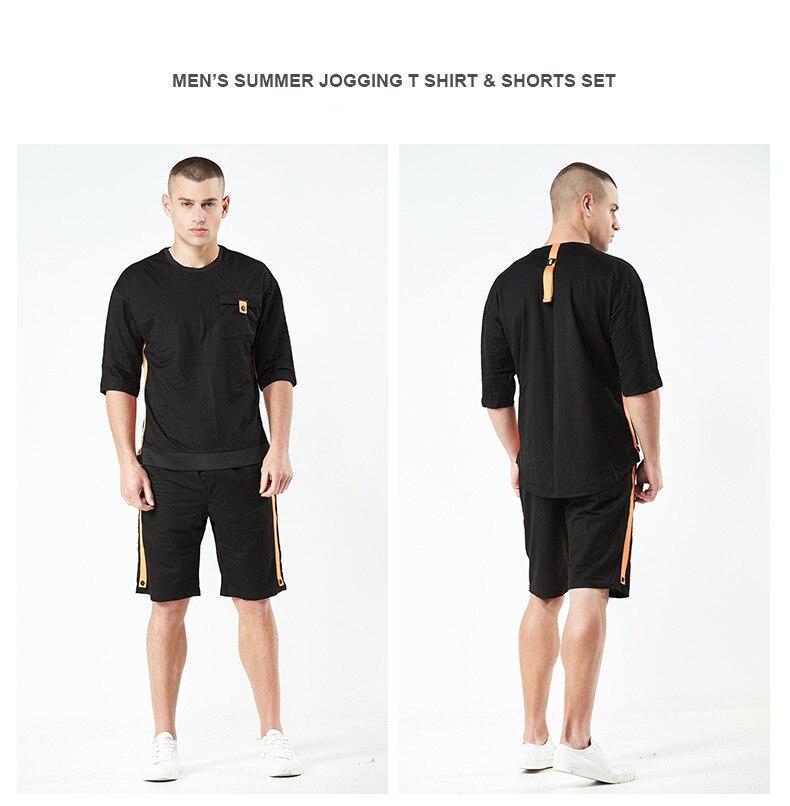 Для мужчин летний спортивный костюм Футболки + шорты 2 шт. хлопковые комплекты верхней и нижней комплекты