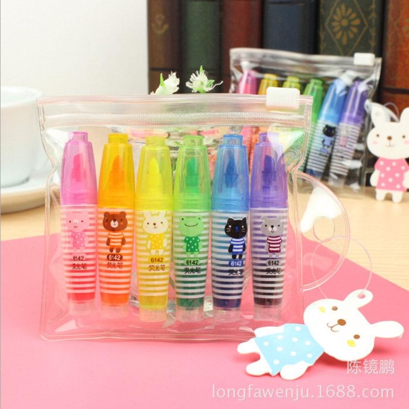 6 PCS/lot Cute Kawaii Mini Highlighter Creative Lovely Cartoon Direct Liquid Colorful Highlighter Pen Stationery