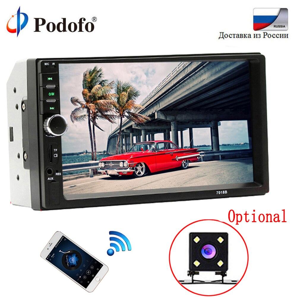 Podofo 2 din Автомагнитолы 7 HD Авторадио плеер MP5 Сенсорный экран цифровой Дисплей Bluetooth USB SD мультимедиа 2Din заднего вида Камера