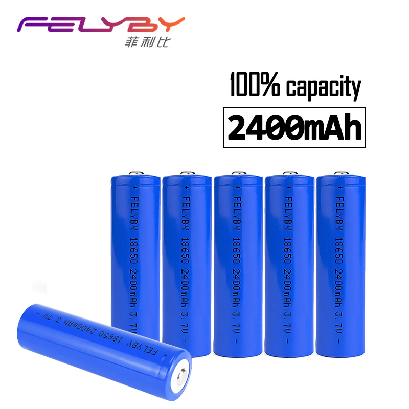 FELYBY Original High quality 18650 li ion charger battery 100% 2400mAh rechargeable battery 3.7V lithium battery for laser pen