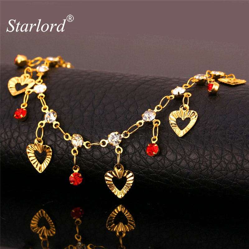 Hot Rhinestone Heart Anklets For Women Foot Jewelry Yellow Gold Color Fashion Link Chain Ankle Bracelet Barefoot Sandals A887