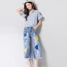 1e68cb26fdc 2018 Jeans Women Casual Denim Mid-Calf Length Boyfriend Cartoon Print Pants  Casual Straight Female