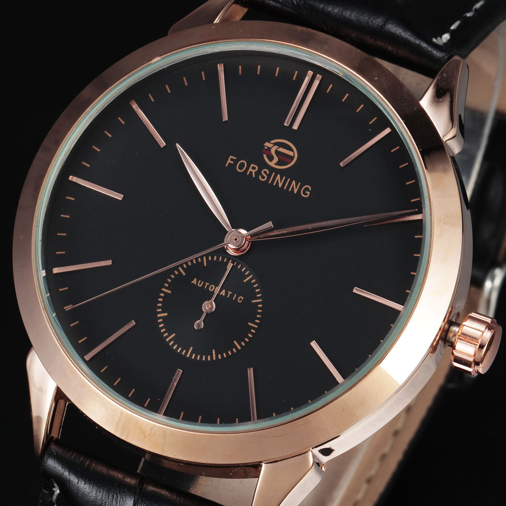 FORSINING Top Luxury Rose Gold Case Automatic Mens Dress Wristwatch Simple Dial Leather Strap Business Mechanical Watch For Men