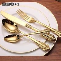 4pcs/set Luxury Golden Dinnerware Set Gold Plated Stainless Steel Cutlery Wedding Tableware Flatware Dining Set Knife Fork Tool