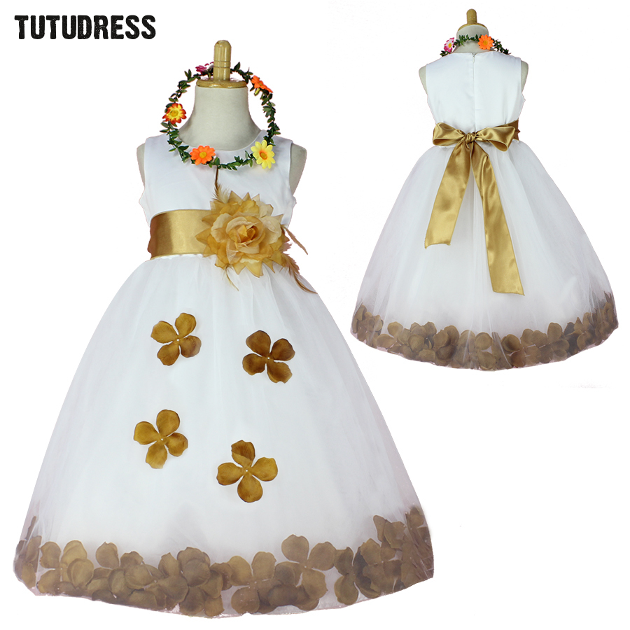 Hot Sale Flower Girl Dresses Princess Tutu Dress Girls Clothes Tulle Pageant Bridesmaid Wedding Party Formal Petals Kids Dress girls dresses 2017 hot sell girl fashion