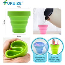 Furuize Menstrual Sterilizing Cup Collapsible women Cup flexible clean Menstrual Cup Recyclable Camping Foldable Sterilizer Cup